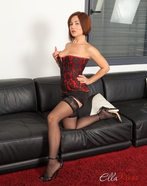 Bodacious red mistress in a corset and stockings with a whip - XXXonXXX - Pic 1