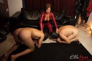Two enslaved dudes in masks get humiliated and tortured badly by kinky ginger mistress - XXXonXXX - Pic 3
