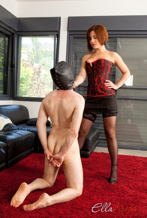 Bodacious red mistress in a corset and stockings with a whip - XXXonXXX - Pic 5