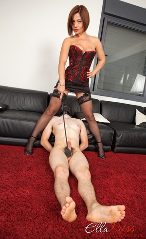 Bodacious red mistress in a corset and stockings with a whip - XXXonXXX - Pic 9