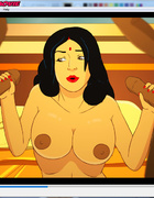 Busty Indian slut Savita sucks two cocks at once…