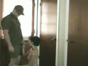 Asian hottie sucking man's meat kneeling in the hall with a spy cam - XXXonXXX - Pic 1