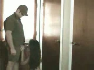 Asian hottie sucking man's meat kneeling in the hall with a spy cam - XXXonXXX - Pic 2