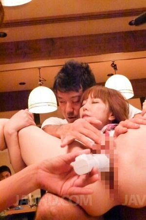 Two guys strip chick nude in public restaurant and fuck her with dildo and cock - XXXonXXX - Pic 5