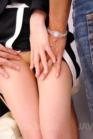 Smart dressed babe is stripped and fingered in bus and she sucks two dicks - XXXonXXX - Pic 2