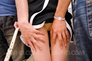 Smart dressed babe is stripped and fingered in bus and she sucks two dicks - XXXonXXX - Pic 3