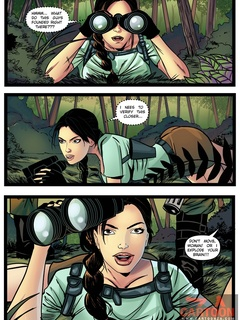 Lara Croft is caught spying by two guys and - Cartoon Sex - Picture 1