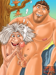 Strong Thunk Crood lifts Ugga Crood on top - Cartoon Sex - Picture 2