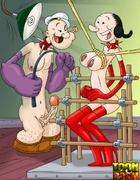 Popeye and Olive Oyl take turn binding each other for sweet sexual torture
