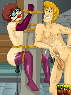 Velma rides tied up Shaggy as Fred Fucks tied - Cartoon Sex - Picture 3