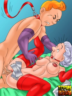 Tin Tin fucks bound old Mrs Snowball in the - Cartoon Sex - Picture 1