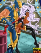 Wolverine and Storm in hot fuck action before Cyclops joins the fun for