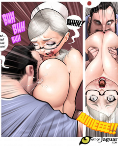 Busty blonde nurse gets her boobs squeezed - Cartoon Sex - Picture 1