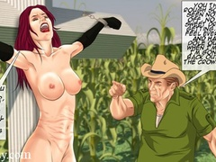 Naked redhead bound to a cross whipped before - Cartoon Sex - Picture 1
