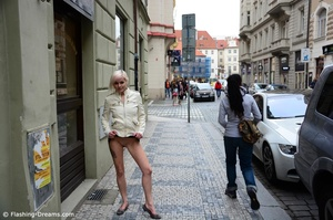 Gorgeous blonde babe exposing her tight cunt and big tits in public. - XXXonXXX - Pic 1