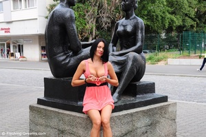 Flashy black haired beauty exposing her gorgeously formed boobs in public. - XXXonXXX - Pic 1