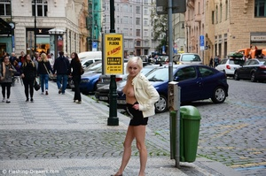 Gorgeous blonde babe exposing her tight cunt and big tits in public. - XXXonXXX - Pic 2