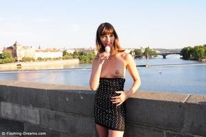 Foxy brunette beauty exposing her small tits in public. - XXXonXXX - Pic 1