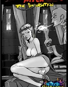 Older priest cleanses an innocent blond from the inside of her skirt