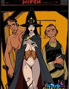 Dark haired witch is made to handle a giant member…