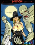 Big bosomed witch loves to play with ghouls and…