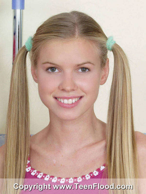 Pigtailed blonde teen with big tits gets nude - XXXonXXX - Pic 1