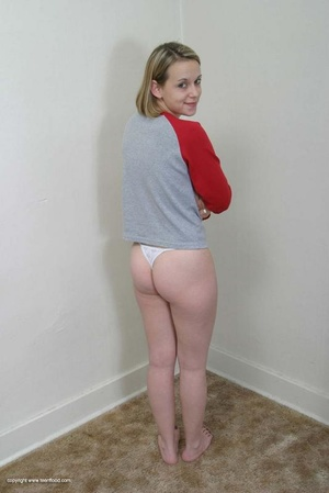 Blonde teen with bushy pussy undresse to show off her body - XXXonXXX - Pic 4