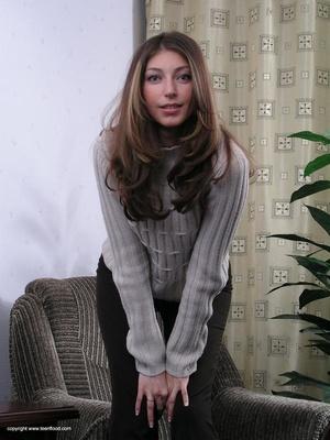 Lovely brunette freshie undresses to present her fresh body - XXXonXXX - Pic 1