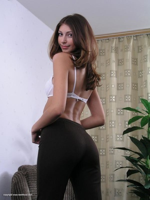 Lovely brunette freshie undresses to present her fresh body - XXXonXXX - Pic 4