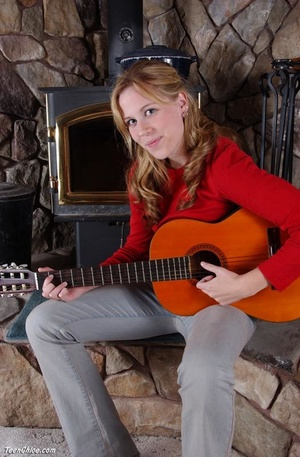 Cute blonde teeny undresses to pose with a guitar - XXXonXXX - Pic 2