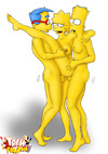 Kinky Lisa Simpson caning a dude bound and with a Bridport dagger