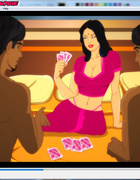 Aroused busty female loves to play a round of strip poker