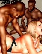 White girl with two blacks and black guy with two white girls sucking