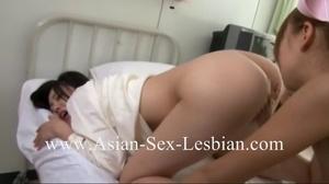 Hot Asian nurse in pink uniform licking her patient's hairy snatch - XXXonXXX - Pic 3