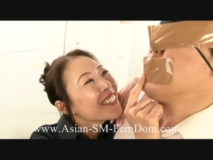 Poor bound dude with a blindfold getting jeered by two Asian sluts badly - XXXonXXX - Pic 5