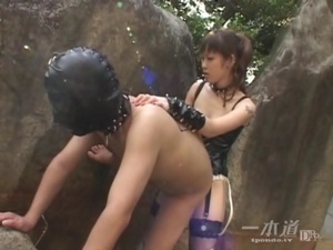 Ponytailed Asian mistress peeing and fucking dude's asshole with a strapon - XXXonXXX - Pic 8