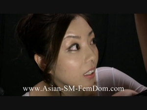 Lewd Asian vixen in a white body humiliating and fucking a bound dude - XXXonXXX - Pic 1