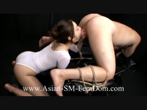 Lewd Asian vixen in a white body humiliating and fucking a bound dude - XXXonXXX - Pic 5