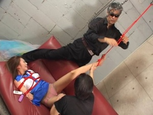 Two old goats torturing hard Asian cutie bound and suspended - XXXonXXX - Pic 2