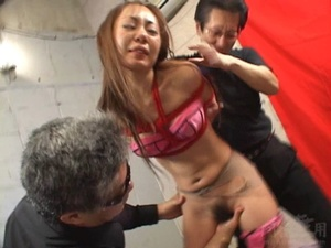 Two old goats torturing hard Asian cutie bound and suspended - XXXonXXX - Pic 7