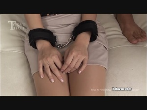 Cute babe in handcuffs gets her Asian shaggy pussy drilled with a fucking machine - XXXonXXX - Pic 1