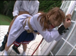 Ponytailed Japanese cheerleader bound and tortured with various bdsm tools - XXXonXXX - Pic 7