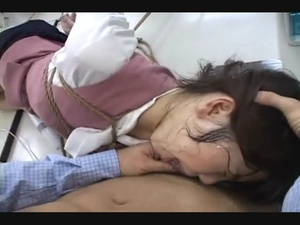 Small-titted old bitch gets roped and her Asian cunt stuffed with chop-sticks - XXXonXXX - Pic 8