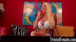 One hot sexy dirty blonde milf in white bra loves to talk dirty like a little slut - XXXonXXX - Pic 1
