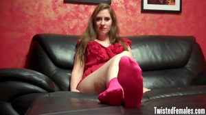 Nasty hot brunette in red dress loves to play withe her sexy little feet an tease guys - XXXonXXX - Pic 1