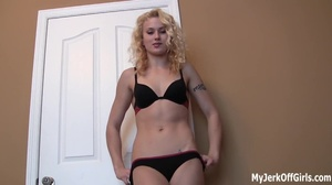 Hot cute little skinny blonde slut in black bikini exposing her sexy body and talk dirty - XXXonXXX - Pic 2