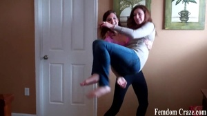 Playful girls in jeans picking up each other to show their strength - XXXonXXX - Pic 2