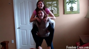 Playful girls in jeans picking up each other to show their strength - XXXonXXX - Pic 6