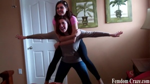 Playful girls in jeans picking up each other to show their strength - XXXonXXX - Pic 7