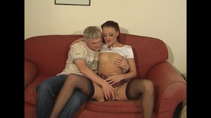 Small-titted ginger house goddess in stockings seduces her neighbor to dirty fucking - XXXonXXX - Pic 1
